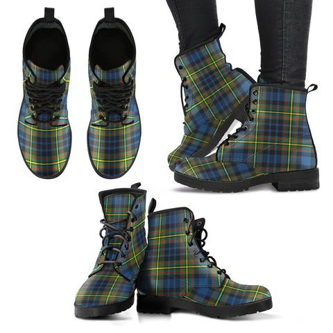 Image of Leather Boots - Clan MacLellan Ancient Plaid Boots