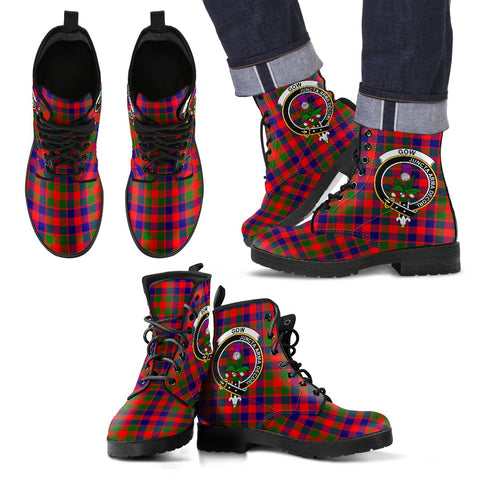 Leather Boots - Clan Gow of McGouan Plaid Boots With Crest