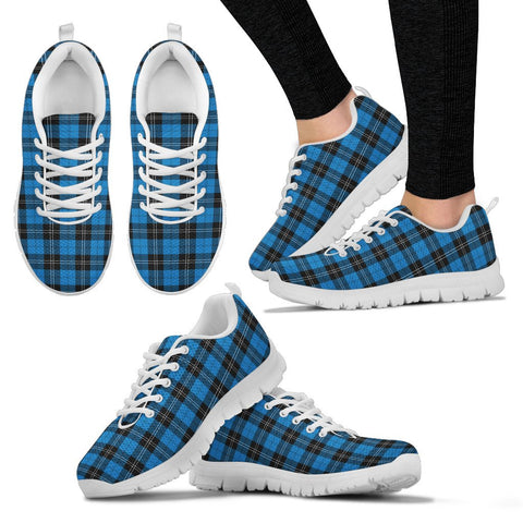 Image of Ramsay Blue Ancient, Women's Sneakers, Tartan Sneakers, Clan Badge Tartan Sneakers, Shoes, Footwears, Scotland Shoes, Scottish Shoes, Clans Shoes