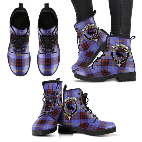 Leather Boots - Clan Rutherford Plaid Boots With Crest