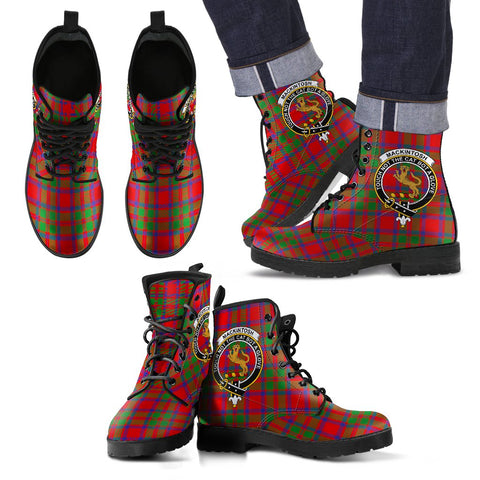 Leather Boots - Clan MacKintosh Modern Plaid Boots With Crest