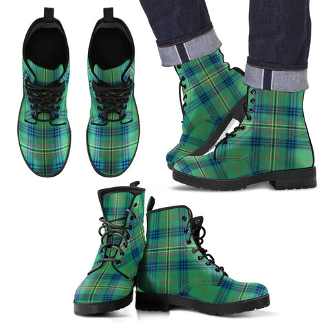 Leather Boots - Clan Kennedy Ancient Plaid Boots