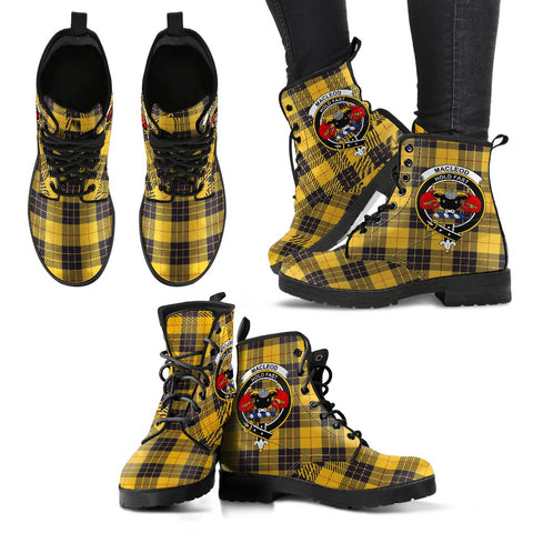 Image of Leather Boots - Clan MacLeod of Lewis Ancient Plaid Boots With Crest