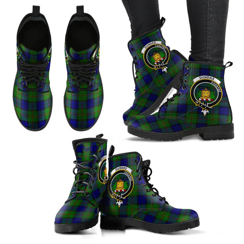 Leather Boots - Clan Dundas Modern Plaid Boots With Crest