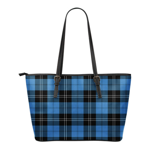 Ramsay Blue Ancient Tartan Leather Tote Bag (Small) | Over 500 Tartans | Special Custom Design