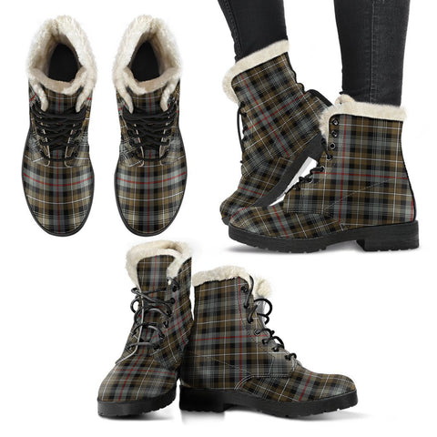 Mackenzie Weathered Tartan Faux Fur Leather Boots