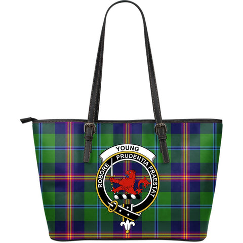 Young Tartan Clan Badge Leather Tote Bag (Large) |  Over 300 Clans And 500 Tartans | Special Custom Design