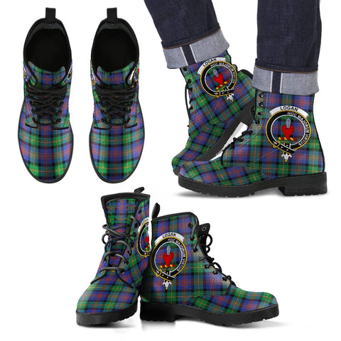 Leather Boots - Clan Logan Ancient Plaid Boots With Crest
