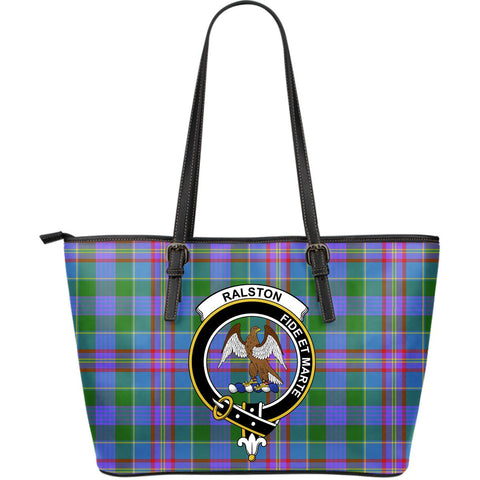 Ralston Tartan Clan Badge Leather Tote Bag (Large) |  Over 300 Clans And 500 Tartans | Special Custom Design