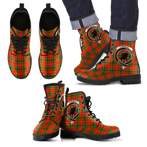 Leather Boots - Clan Turnbull Plaid Boots With Crest