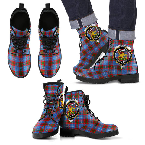 Leather Boots - Clan Newton Plaid Boots With Crest