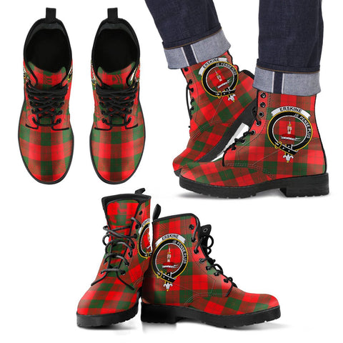 Leather Boots - Clan Erskine Modern Plaid Boots With Crest