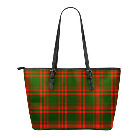 Menzies Green Modern Tartan Leather Tote Bag (Small) | Over 500 Tartans | Special Custom Design