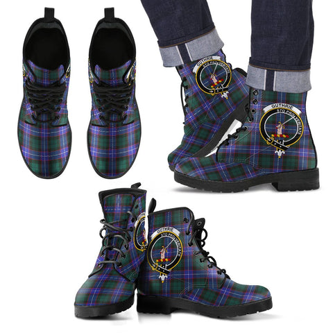Leather Boots - Clan Guthrie Modern Plaid Boots With Crest