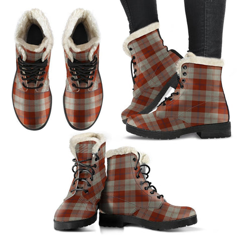 Davidson Dress Dancers Tartan Faux Fur Leather Boots
