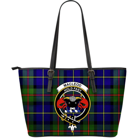MacLeod Tartan Clan Badge Leather Tote Bag (Large) |  Over 300 Clans And 500 Tartans | Special Custom Design