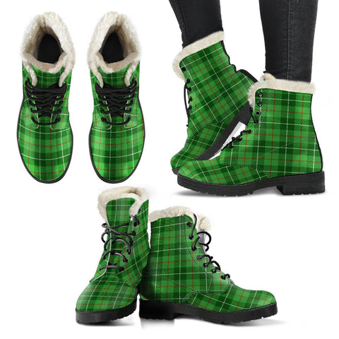Galloway District Tartan Faux Fur Leather Boots