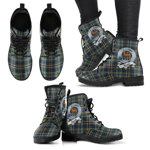 Leather Boots - Clan SCOTT GREEN Modern Plaid Boots With Crest