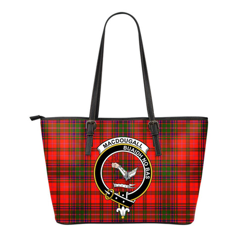 MacDougall Tartan Clan Badge Leather Tote Bag (Small) | Over 300 Clans And 500 Tartans | Special Custom Design