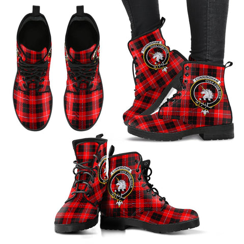 Leather Boots - Clan Cunningham Modern Plaid Boots With Crest