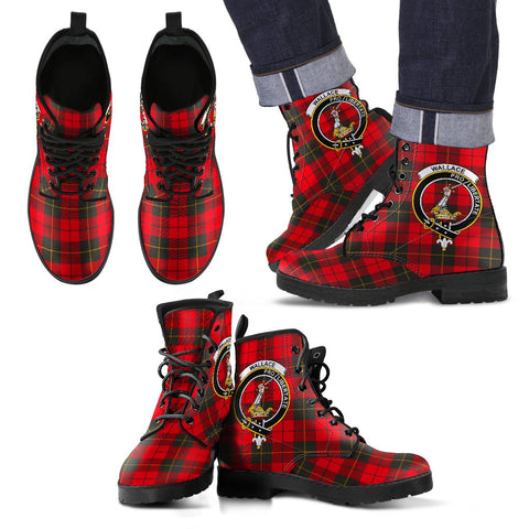 Leather Boots - Clan Wallace Weathered Plaid Boots With Crest