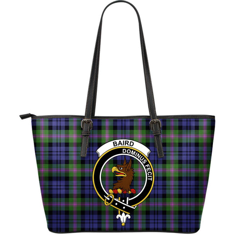 Baird Tartan Clan Badge Leather Tote Bag (Large) |  Over 300 Clans And 500 Tartans | Special Custom Design