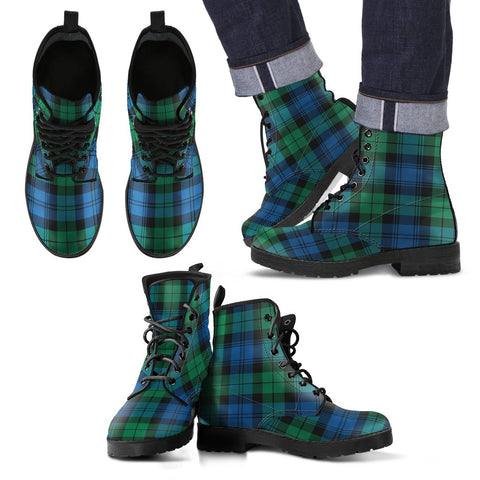 Leather Boots - Clan Blackwatch Ancient Plaid Boots
