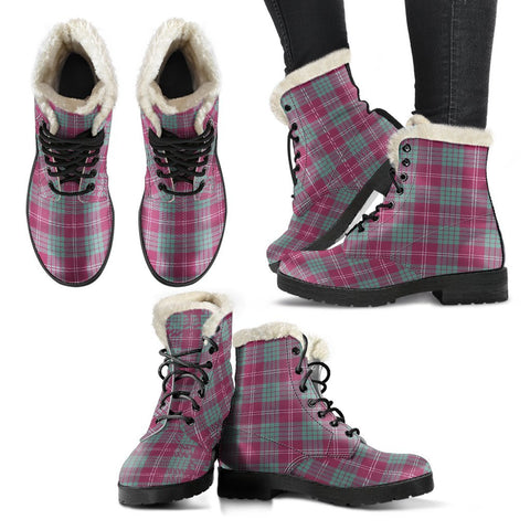 Crawford Ancient Tartan Faux Fur Leather Boots