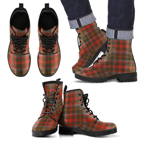 Leather Boots - Clan MacKintosh Hunting Weathered Plaid Boots
