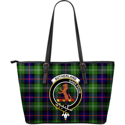 Sutherland II Tartan Clan Badge Leather Tote Bag (Large) |  Over 300 Clans And 500 Tartans | Special Custom Design