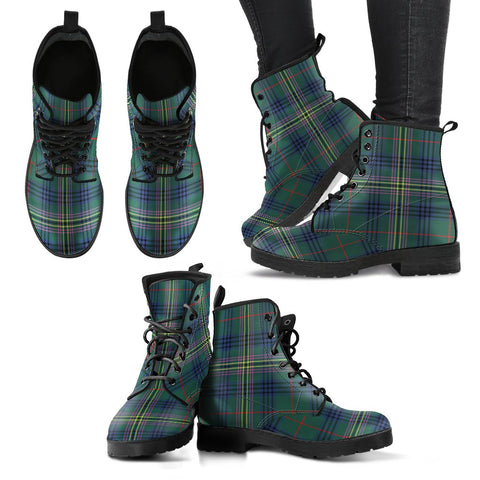 Leather Boots - Clan Kennedy Modern Plaid Boots