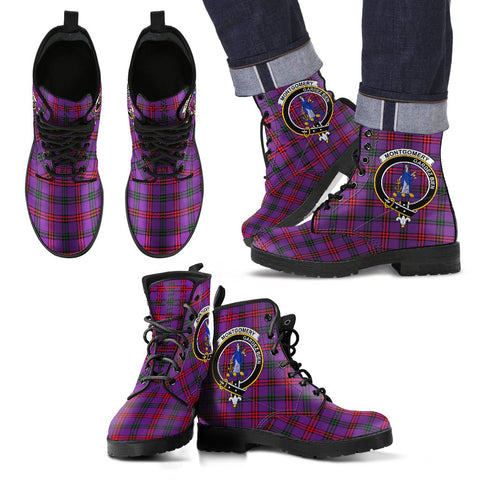 Leather Boots - Clan Montgomery Modern Plaid Boots With Crest
