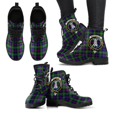 Leather Boots - Clan Malcolm Modern Plaid Boots With Crest