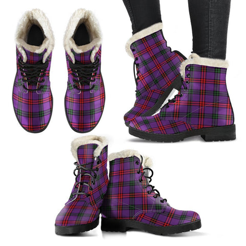 Image of Montgomery Modern Tartan Faux Fur Leather Boots