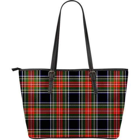 Stewart Black Tartan Leather Tote Bag (Large) | Over 500 Tartans | Special Custom Design