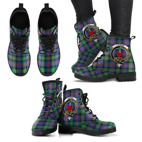 Image of Leather Boots - Clan Logan Ancient Plaid Boots With Crest