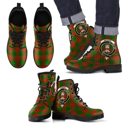 Leather Boots - Clan Menzies Green Modern Plaid Boots With Crest