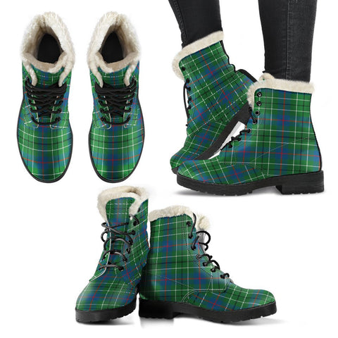 Image of Duncan Ancient Tartan Faux Fur Leather Boots