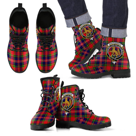 Leather Boots - Clan MacPherson Modern Plaid Boots With Crest