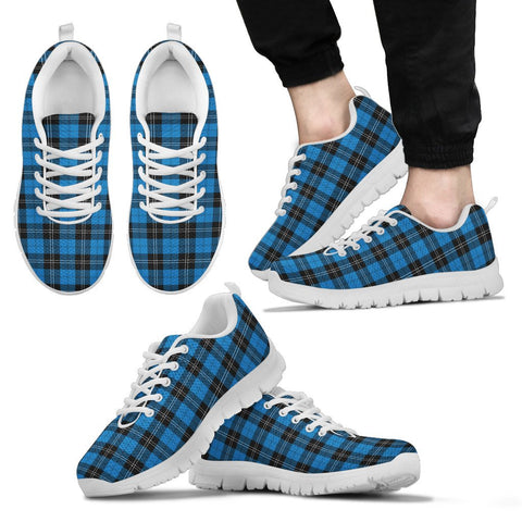 Ramsay Blue Ancient, Men's Sneakers, Tartan Sneakers, Clan Badge Tartan Sneakers, Shoes, Footwears, Scotland Shoes, Scottish Shoes, Clans Shoes