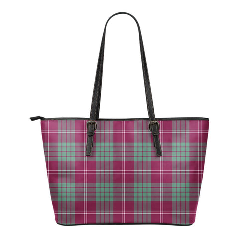 Crawford Ancient Tartan Leather Tote Bag (Small) | Over 500 Tartans | Special Custom Design