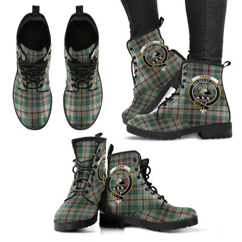 Leather Boots - Clan Craig Ancient Plaid Boots With Crest