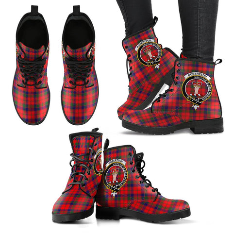 Leather Boots - Clan Robertson Modern Plaid Boots With Crest