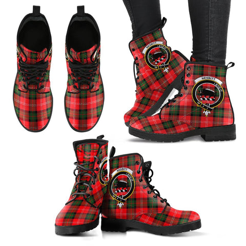 Leather Boots - Clan Nesbitt Modern Plaid Boots With Crest