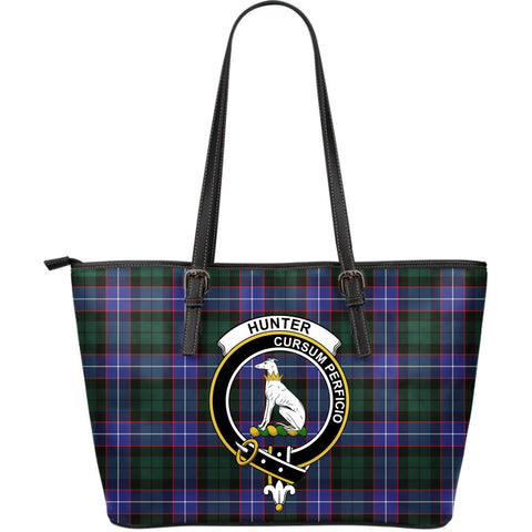 Hunter Tartan Clan Badge Leather Tote Bag (Large) |  Over 300 Clans And 500 Tartans | Special Custom Design