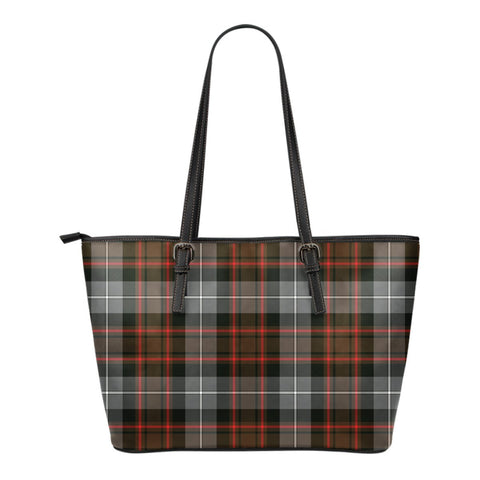 MacRae Hunting Weathered Tartan Leather Tote Bag (Small) | Over 500 Tartans | Special Custom Design