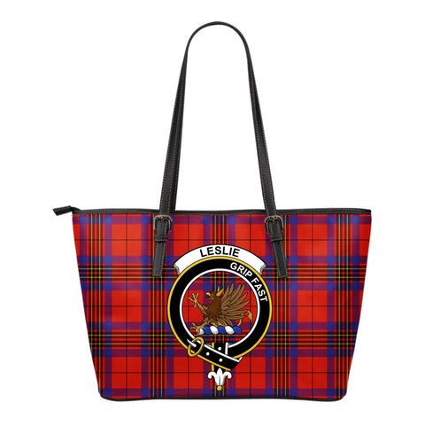Leslie (Earl of Rothes) Tartan Clan Badge Leather Tote Bag (Small) | Over 300 Clans And 500 Tartans | Special Custom Design