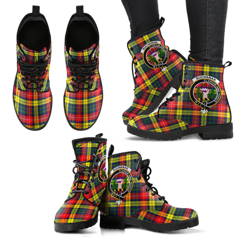 Leather Boots - Clan Buchanan Modern Plaid Boots With Crest
