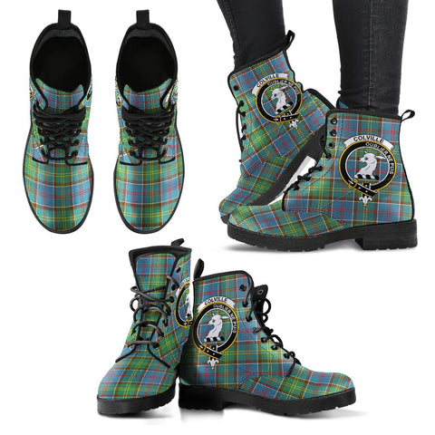Leather Boots - Clan Colville district Plaid Boots With Crest