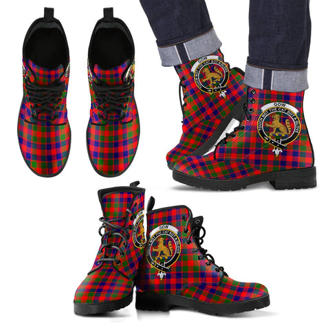 Leather Boots - Clan Gow of Skeoch Plaid Boots With Crest